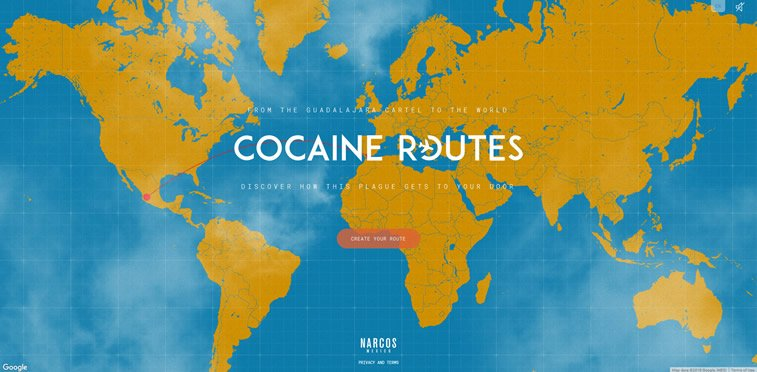 narcos mexico tv series cocaine routes website experiment