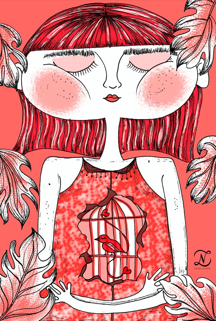 devojcica ilustarciaj living coral boja godine