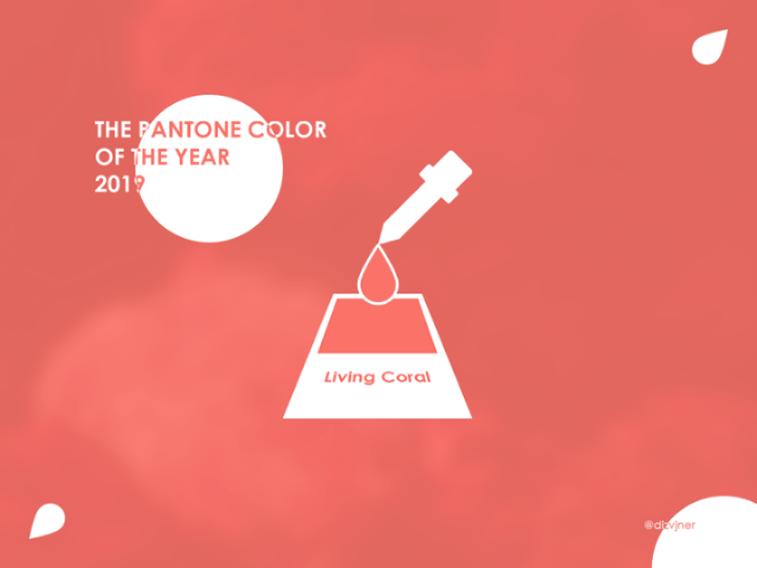 living coral boja godine pipeta ilustracija