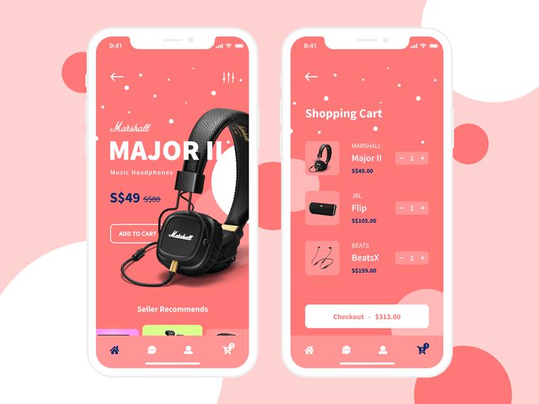 app dizajn e-shop living coral boja godine