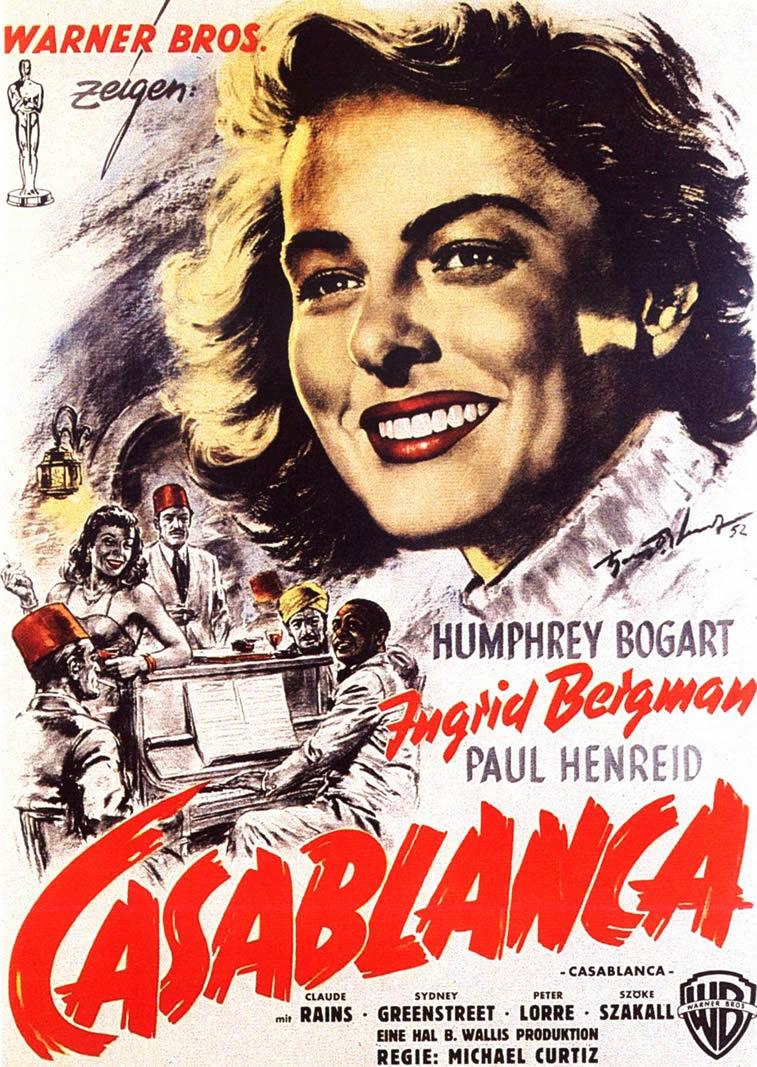 casablanca film poster ingrid bergman hemfri bogart
