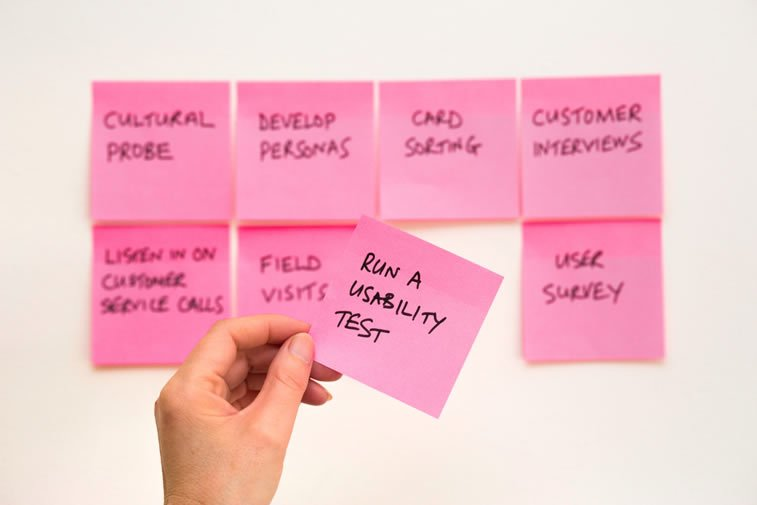 user reserach ux design post-it usability test