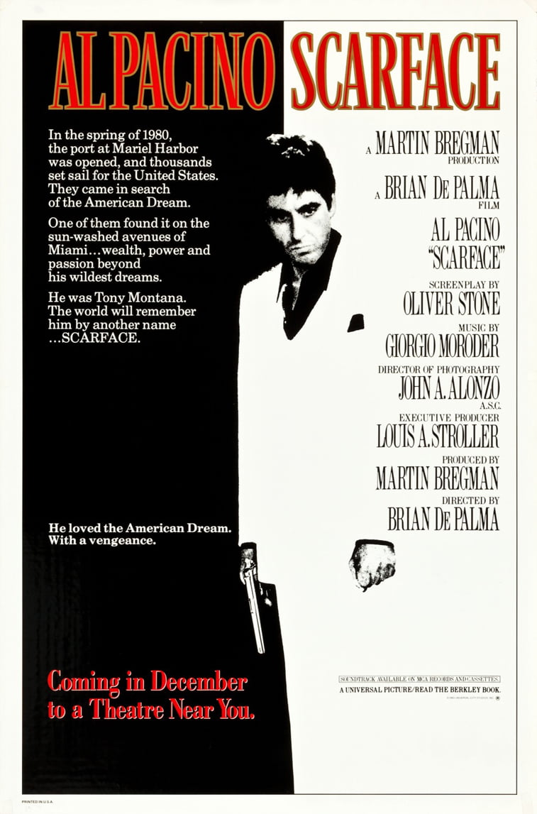 scarface al pacino movie poster