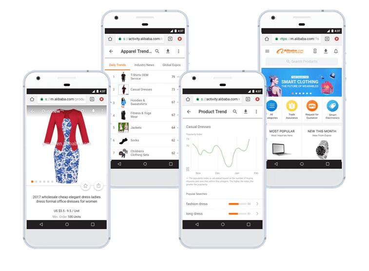 Alibaba ecommerce PWA smartphone