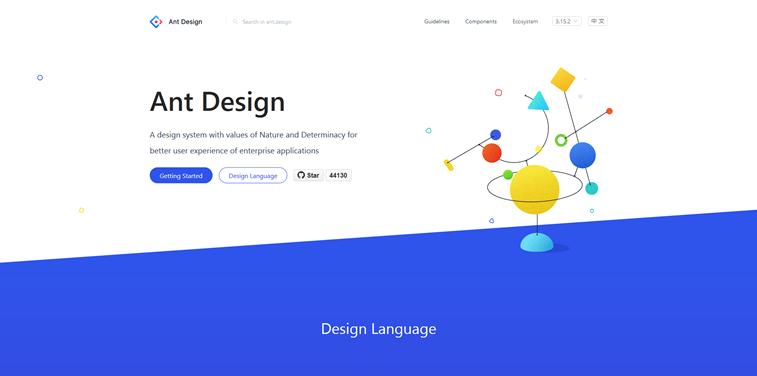 Ant Design finances homepage screenshot