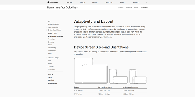 Apple Human Interface guidelines addaprtivity and layout screenshot