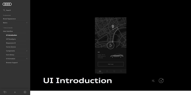 Audi UI system homepage