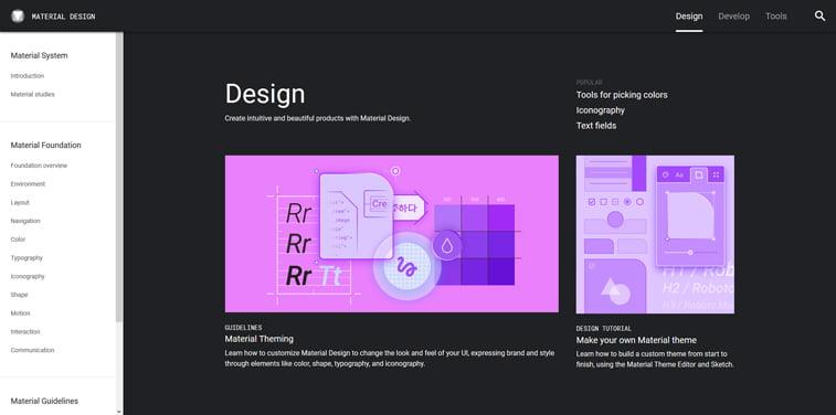 Google material design screenshot