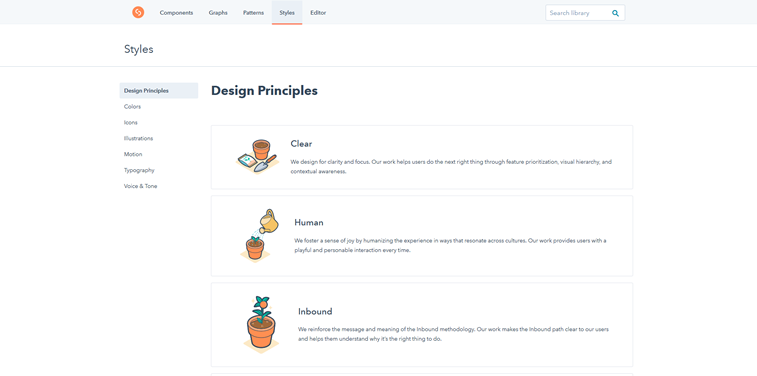 Hubspot Canvas system design styles