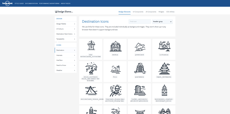 Rizzo styleguide lonely planet destination icons screenshot