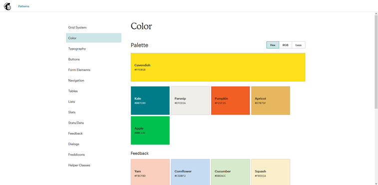 Mailchimp pattern library colors screenshot