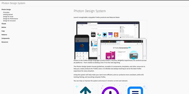 Mozilla Firefox Photon design system screenshot