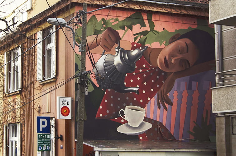 artez coffee time street art grafit