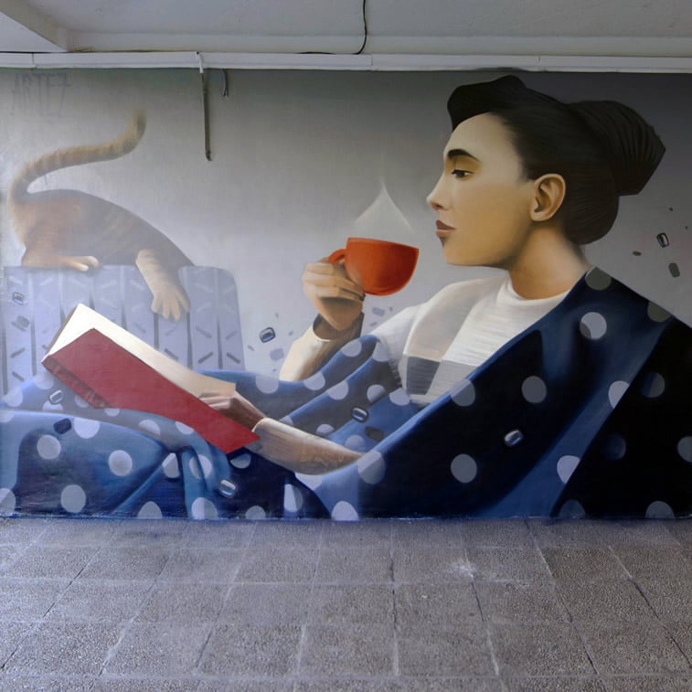 artez tea party street art grafit