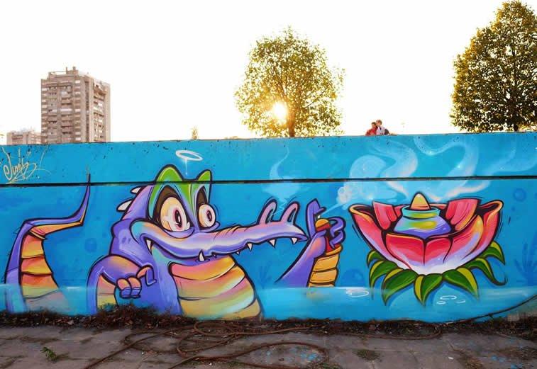 krokodil junk street art grafit