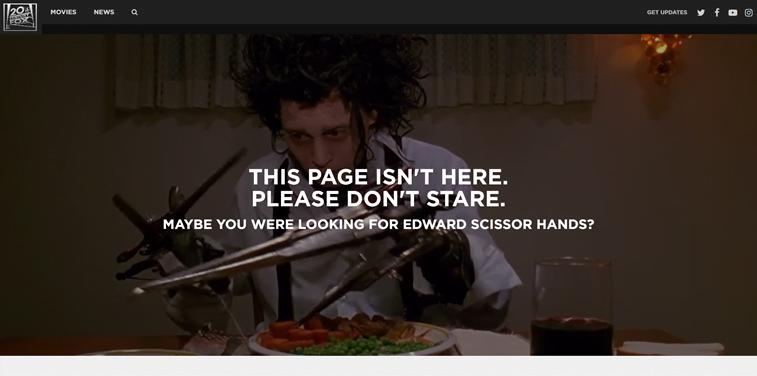 20th Century Fox 404 page video edward scissors hand johnny depp