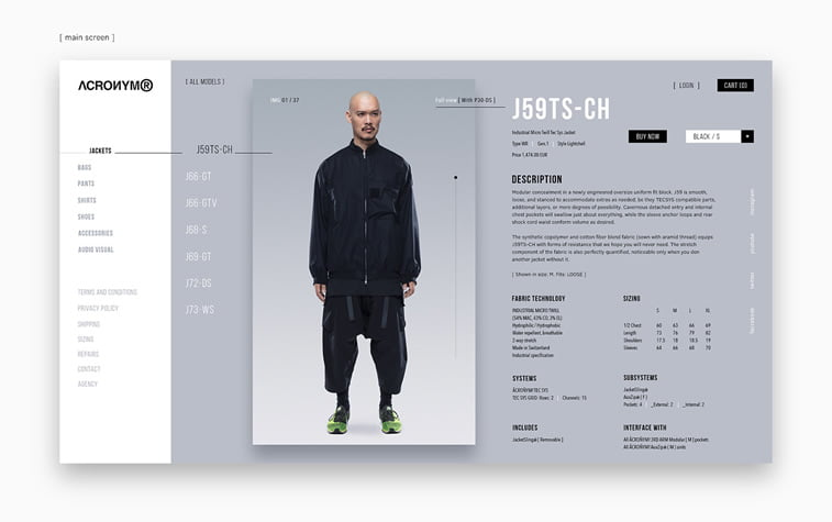 ACRONYM Website Design Concept single product page