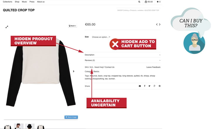 product page design hidden CTA button
