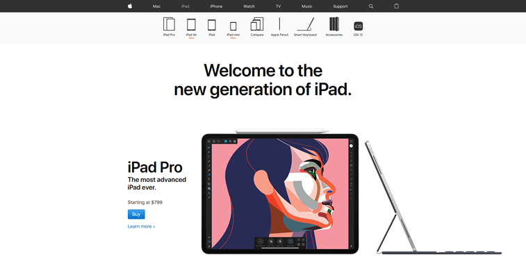 Layout for iPad Pro, on the website of Apple.