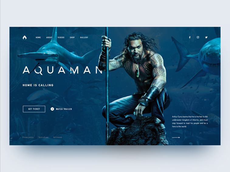Aquaman movie website redesign