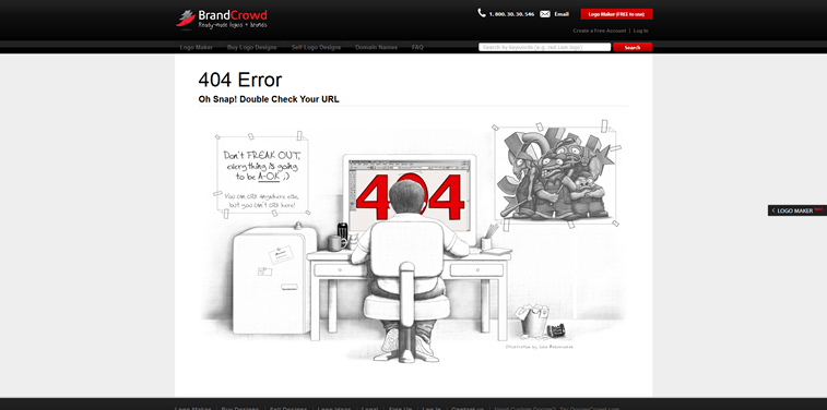 BrandCrowd custom skecth 404 error page