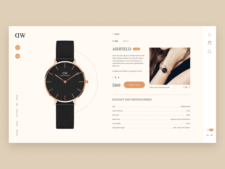 Daniel Wellington ecommerce website