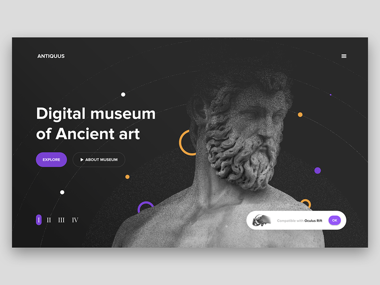 Digital Museum Concept virtual reality homepage