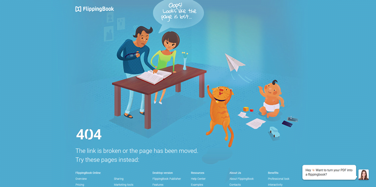 flipping book 404 page custom family illustration