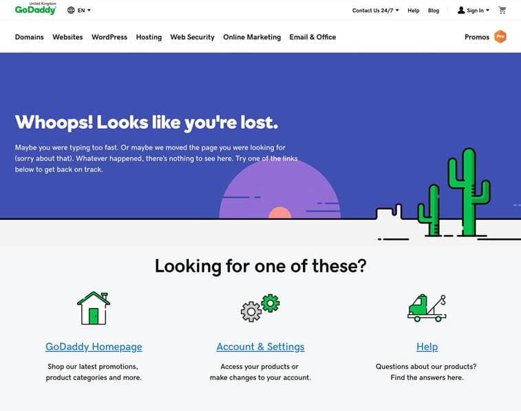 GoDaddy 404 error page