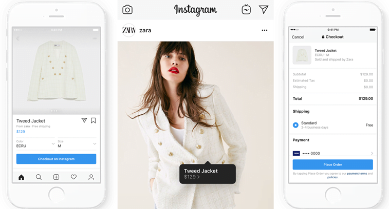 instagram shopping checkout page