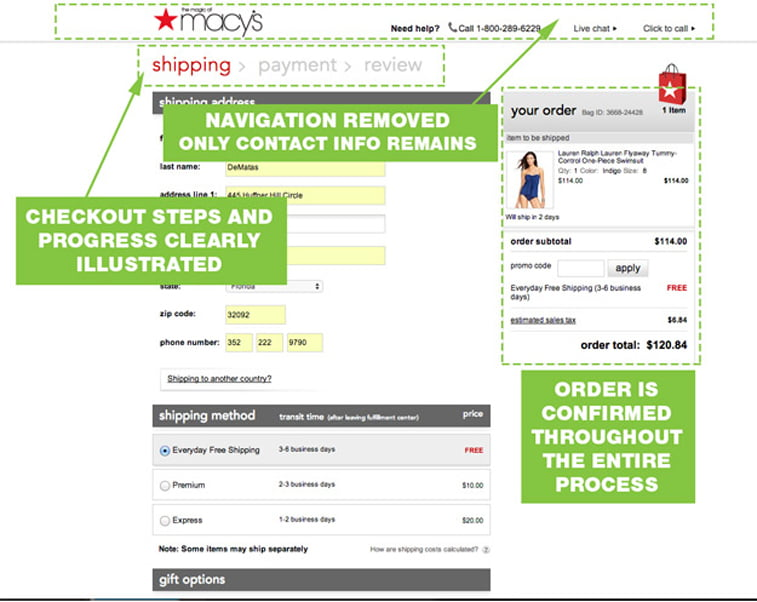 Macy's shipping page design
