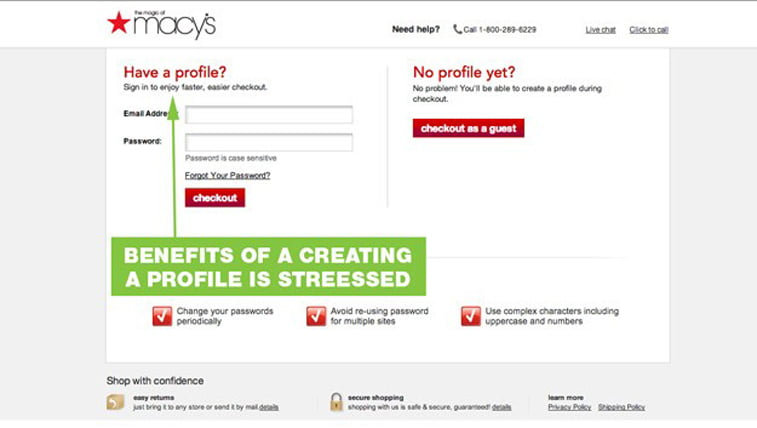 Macy's e-commerce checkout page design