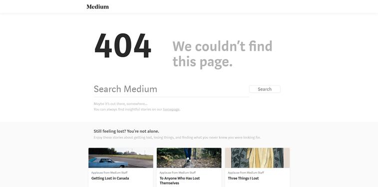 Medium 404 page design