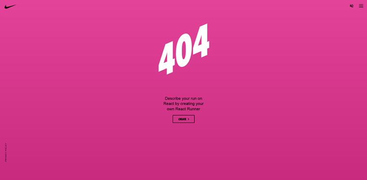 Nike React 404 error page creator