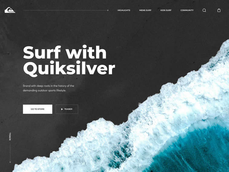 Quicksilver Surfing home page redesign
