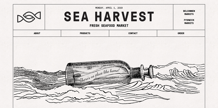 sea harvest 404 page custom illustartion no place like home