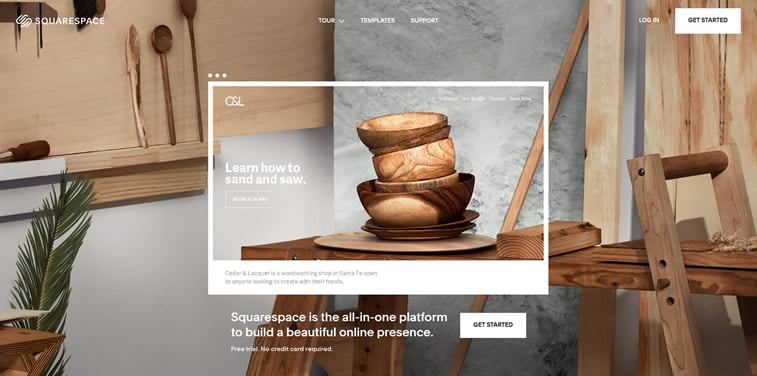 squarespace homepage screenshot