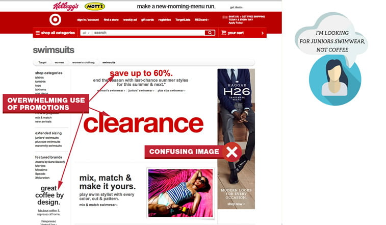 Target's category page UX design