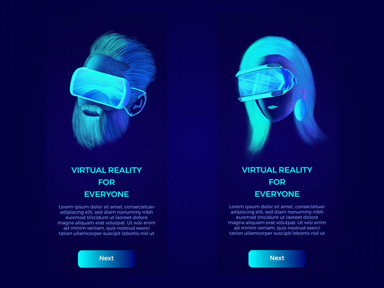 VR UI website design concept fluorescent colors