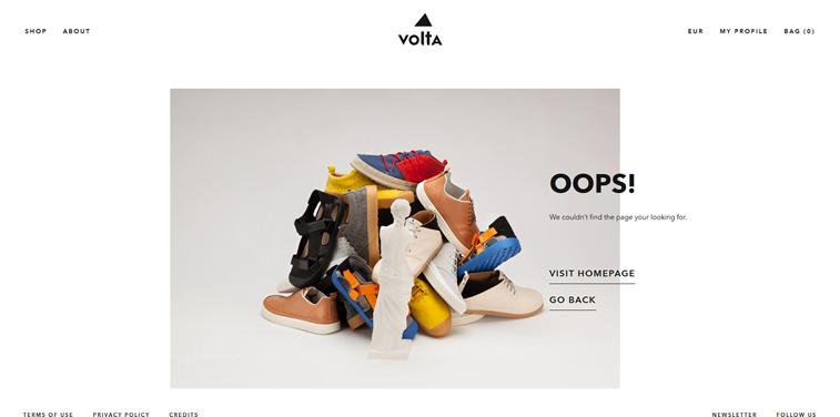 Volta Footwear 404 error page