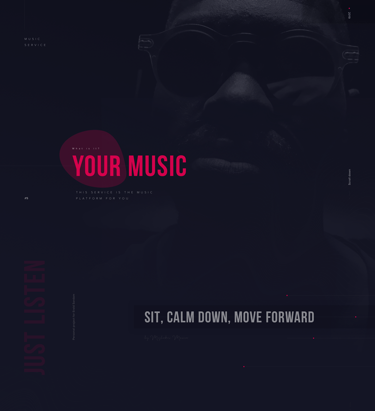 YourMusic music app design concept homepage