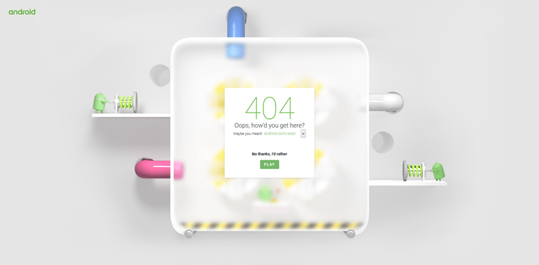 android 404 page design play game