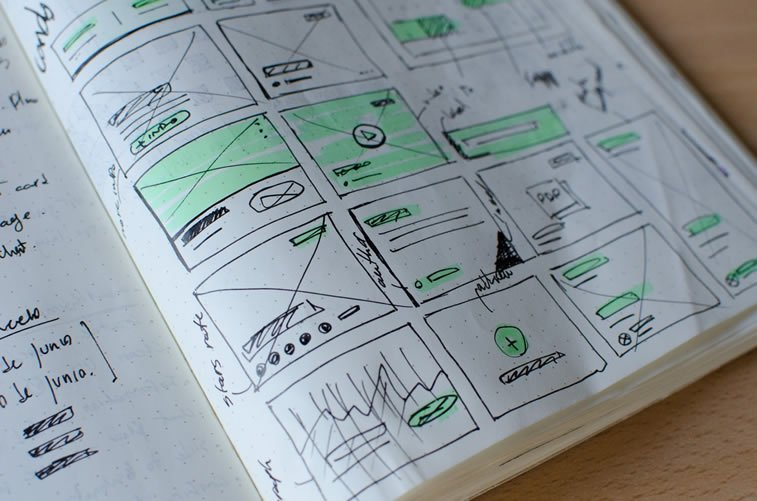 web page elements drawings in a notebook