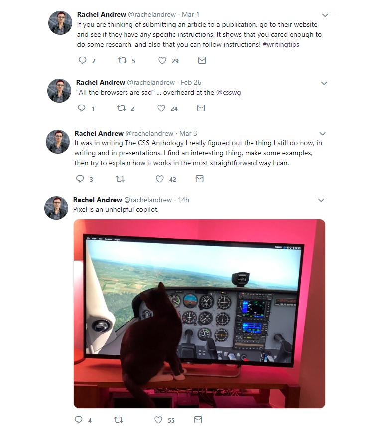 rachel andrew twitter account
