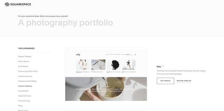 template category squarespace