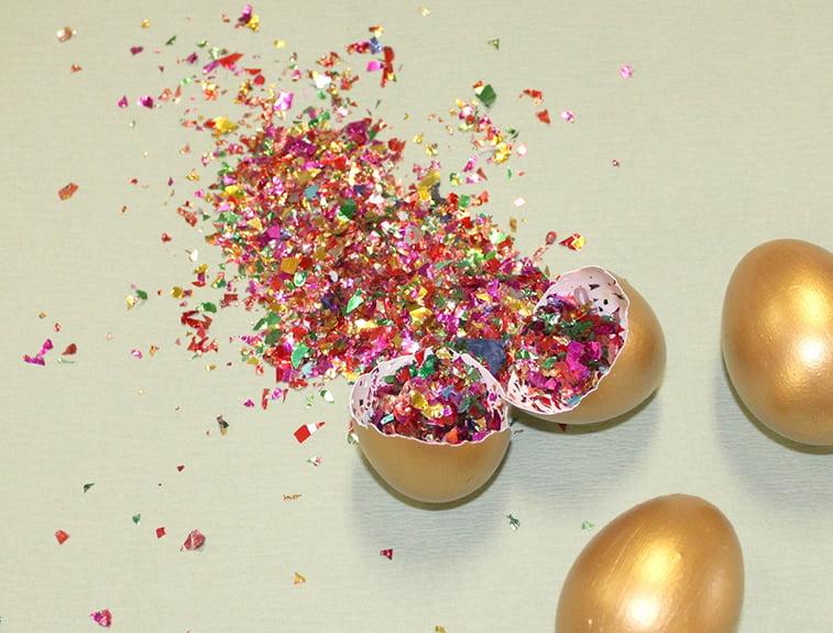 uskrsnja jaja napunjena konfetama