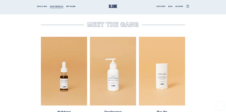 Blume ecommerce products page design