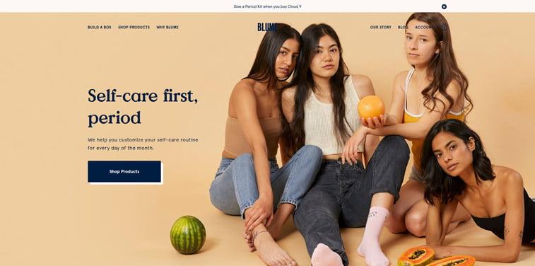 Blume ecommerce hompeage design