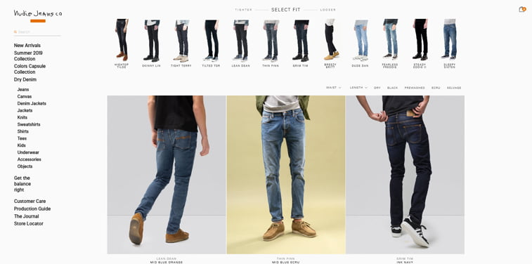 nudie jeans online shop category page