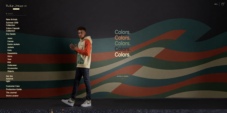 nudie jeans homepage colors collection